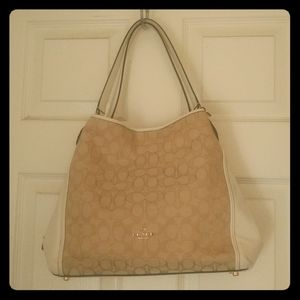 Coach signature white and tan edie bag
